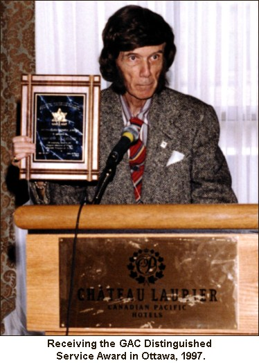 Receiving the GAC Distinguished Service Award in Ottawa, 1997.
